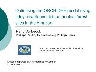 Optimising the ORCHIDEE model using eddy covariance data at tropical forest sites in the Amazon