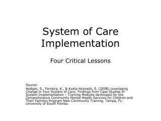 System of Care Implementation