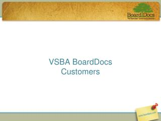 VSBA BoardDocs Customers
