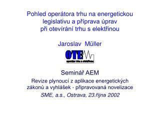 Seminář AEM Revize plynoucí z aplikace energetických zákonů a vyhlášek - připravovaná novelizace