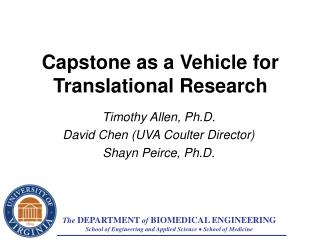 Capstone as a Vehicle for Translational Research