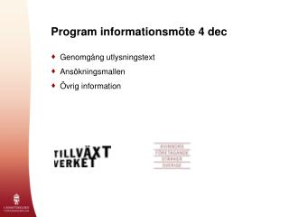 Program informationsmöte 4 dec