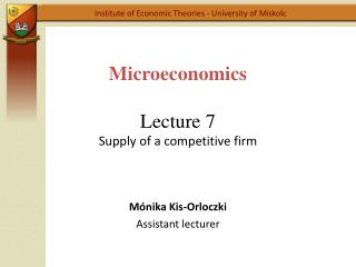 Microeconomics Lecture  7 Supply  of a  competitive firm