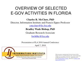 OVERVIEW OF SELECTED E-GOV ACTIVITIES IN FLORIDA