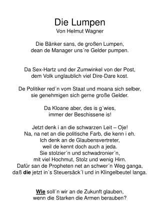 Die Lumpen Von Helmut Wagner Die Bänker sans, de großen Lumpen,