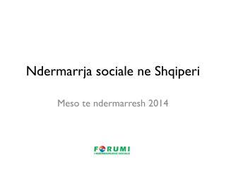 Ndermarrja  sociale ne  Shqiperi