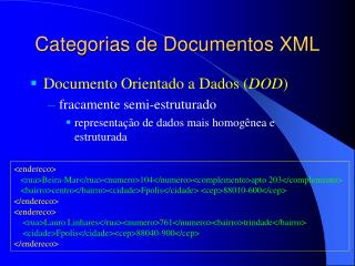 Categorias de Documentos XML