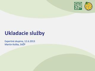 Ukladacie služby Expertná skupina,  12.6.2013 Martin Ko ška, SAŽP
