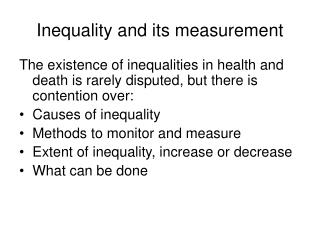 Inequality and its measurement