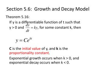 Section 5.6:  Growth and Decay Model