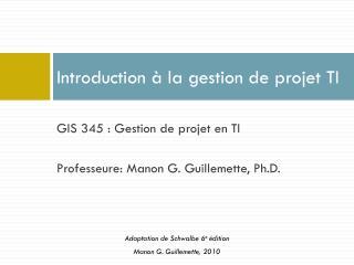 Introduction à la gestion de projet TI