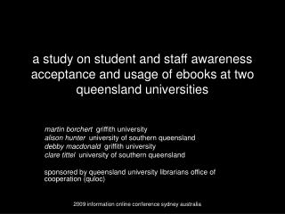 martin borchert   griffith university alison hunter   university of southern queensland