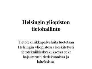 Helsingin yliopiston tietohallinto