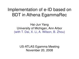 Implementation of e-ID based on BDT in Athena EgammaRec