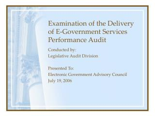 Examination of the Delivery of E-Government Services Performance Audit