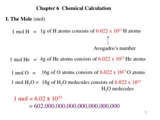 1g of H atoms consists of  6.022 x 10 23 H atoms
