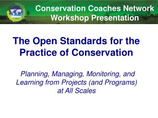 Conservation Coaches Network Workshop Presentation