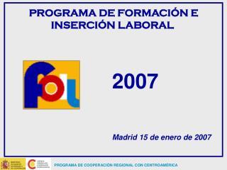 PROGRAMA DE FORMACIÓN E INSERCIÓN LABORAL