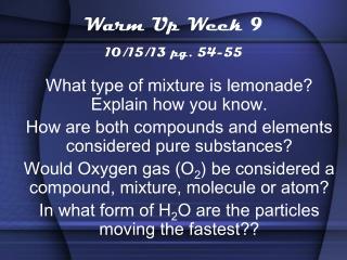 Warm Up Week 9 10/15/13 pg. 54-55