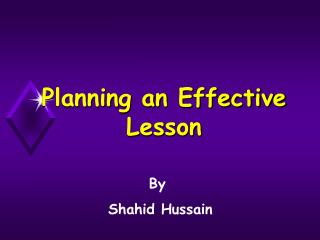 Planning an Effective Lesson