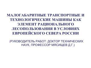( РУКОВОДИТЕЛЬ РАБОТ: ДОКТОР ТЕХНИЧЕСКИХ НАУК, ПРОФЕССОР МЯСИЩЕВ Д.Г.)