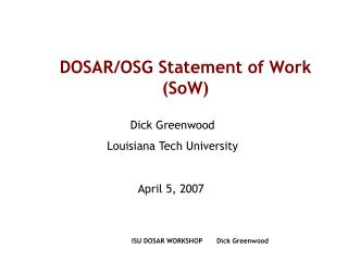 DOSAR/OSG Statement of Work (SoW)