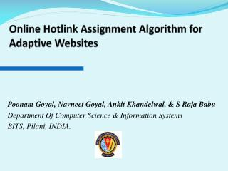 Online Hotlink Assignment Algorithm for Adaptive Websites