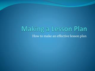 Making a Lesson Plan