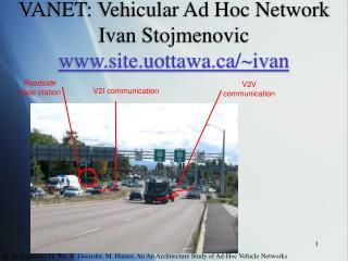 VANET: Vehicular Ad Hoc Network Ivan Stojmenovic  site.uottawa/~ivan