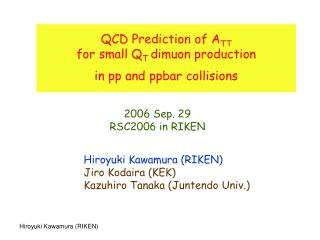 QCD Prediction of A TT for small Q T  dimuon production  in pp and ppbar collisions