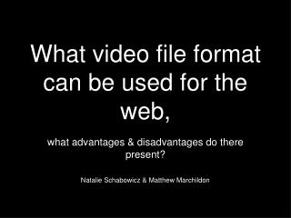 What video file format can be used for the web,