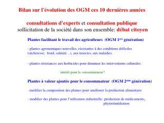 Bilan sur l' é volution des OGM ces 10 derni è res ann é es