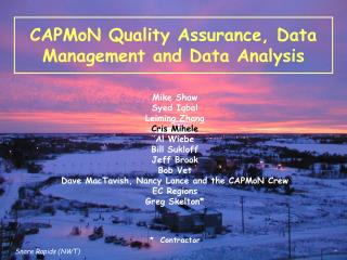 CAPMoN Quality Assurance, Data Management and Data Analysis