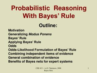 Probabilistic  Reasoning With Bayes' Rule