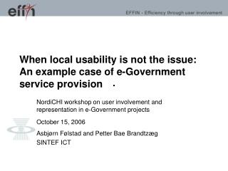 When local usability is not the issue: An example case of e-Government service provision
