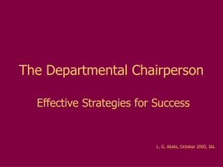 The Departmental Chairperson