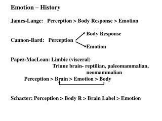 Emotion – History James-Lange:   Perception > Body Response > Emotion