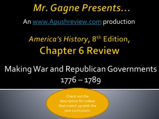 America's History , 8 th  Edition, Chapter 6 Review