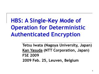 HBS: A Single-Key Mode of Operation for Deterministic Authenticated Encryption