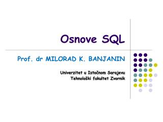 Osnove SQL