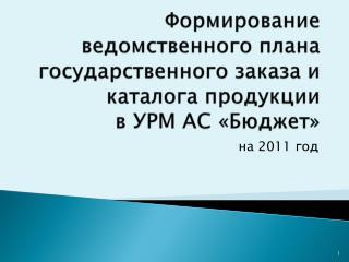 Формирование ведомственного плана государственного заказа и каталога продукции  в УРМ АС «Бюджет»