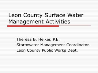 Leon County Surface Water Management Activities