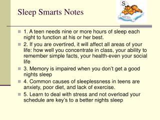 Sleep Smarts Notes
