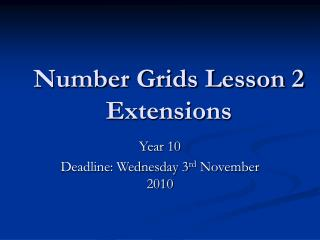 Number Grids Lesson 2  Extensions