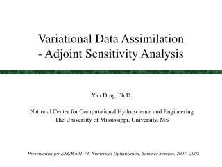 Variational Data Assimilation - Adjoint Sensitivity Analysis