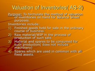 Valuation of Inventories( AS-2)