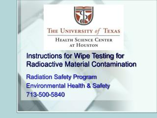 Instructions for Wipe Testing for Radioactive Material Contamination