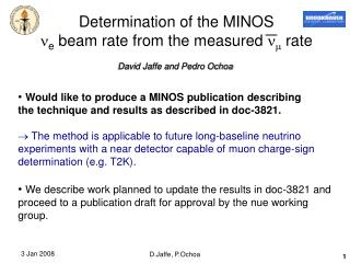 Determination of the MINOS   e  beam rate from the measured     rate