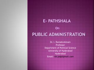 E- Pathshala  On  Public Administration