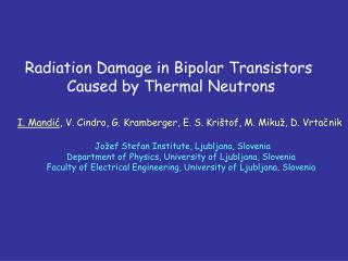 Radiation Damage in Bipolar Transistors  Caused by Thermal Neutrons
